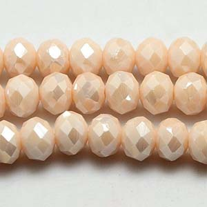 CRB1-131L - medium puffy rondelle - pale peach opal full lustre