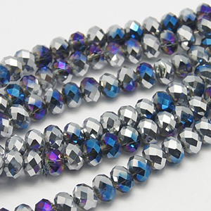 CRB2-63S -  puffy rondelle - blue/purple silver half coated