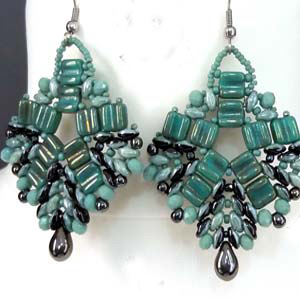 SBDUO1-GROOVY - Superduo Duets and Groovy Tiles Earrings Pattern