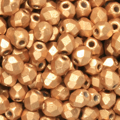 GBFP04 MET 111 - Czech fire-polished beads  - gold matt metallic