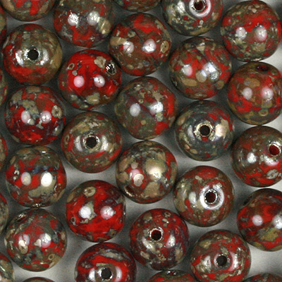 GBSR06-424 - Czech round pressed glass beads - opaque coral red picasso