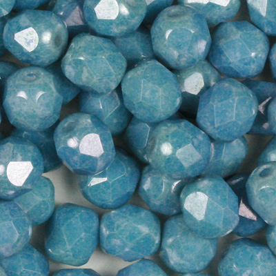 GBFP06-354 - Czech fire-polished beads - chalk blue lustre