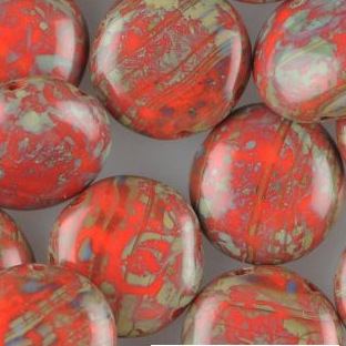 GBCDY12-465 - Czech Candy Beads - red travertin