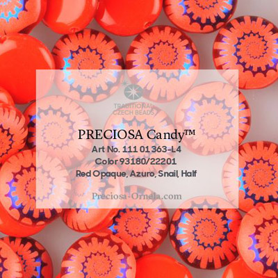 GBCDYLA08-468 - Czech Candy Beads - opaque red azuro laser ammonite
