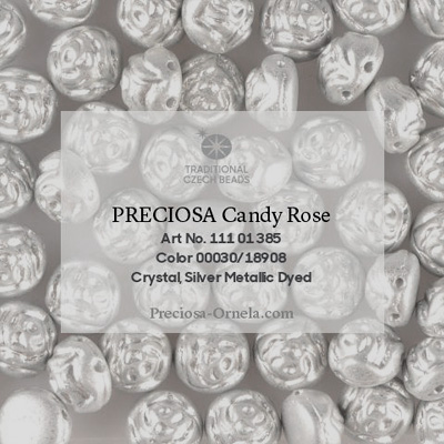 GBCDYR08-160 - Czech Candy Rose Beads - silver metallic, dyed