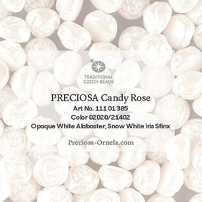 GBCDYR12-315 - Czech Candy Rose Beads - alabaster lustre