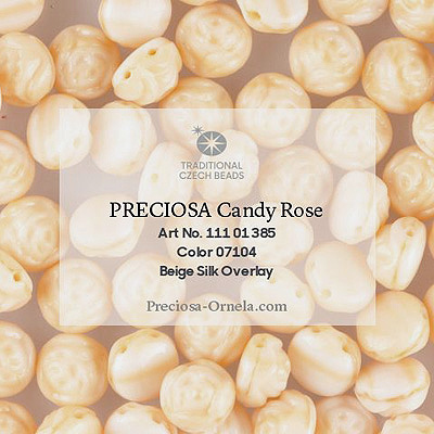 GBCDYR08-400 - Czech Candy Rose Beads - beige silk overlay
