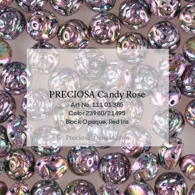 GBCDYR08-72 - Czech Candy Rose Beads - jet red iris