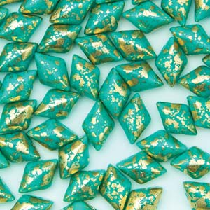 GBGDUO-753 - Gemduos - opaque turquoise green gold splash