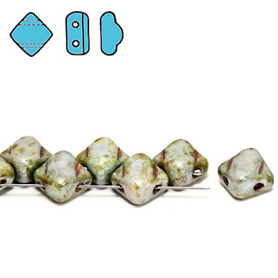 GBSLK-368 - Czech silky beads - chalk lazure blue