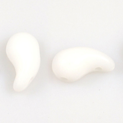 GBZOL-2-L - Czech Zoliduo Beads - white alabaster: left version