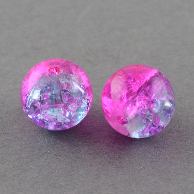 GCB04-T3 - glass crackle beads - fuchsia/lilac