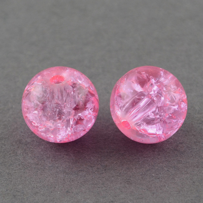 GCB04-3 - glass crackle beads - pink