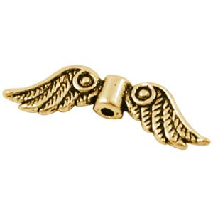 MEB17-1 - angel wings bead - antique gold