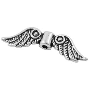 MEB17-2 - angel wings bead - silver