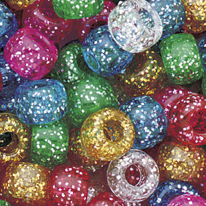 PB-BAR SP-M3 - barrel pony beads - mixed classic sparkle colours