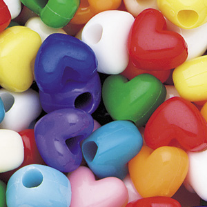 PB-HT S-M1 - heart pony beads - opaque mixed colours
