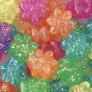 PB-FL SP-M10 - flower pony beads - jelly sparkle mixed colours