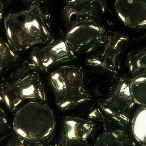 GBPLT-263 - Czech pellet pressed beads -jet green iris