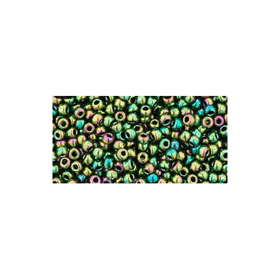 SB15JT-508 - Toho size 15 seed beads - higher-metallic iris olivine