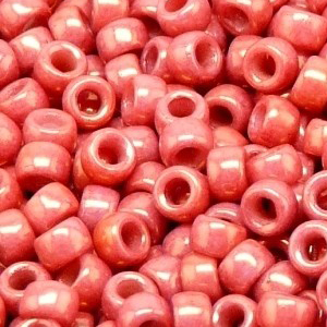 SBP8-356 - Matubo Czech size 8 seed beads - chalk red lustre
