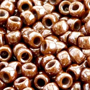 SBP8-185 - Matubo Czech size 8 seed beads - opaque chocolate white lustre