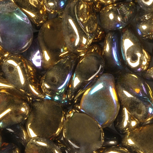 GBPIP-207 - Czech pips pressed beads - crystal golden iris