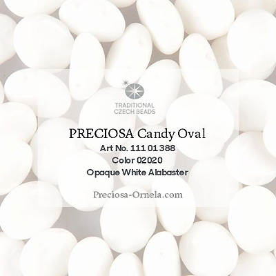 GBCDYOV06-2 Czech Candy Oval Beads - white alabaster