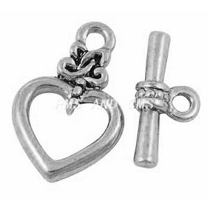 MEC48-2 heart toggle clasp - silver