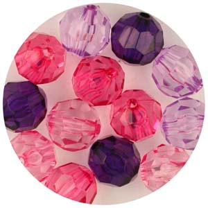 PB5 T Mix faceted round beads - transparent mix