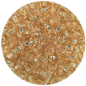 SB10-2 Czech size 10 seed beads, silver lined - gold