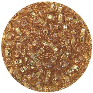 SB10-3 Czech size 10 seed beads, silver lined - dark gold