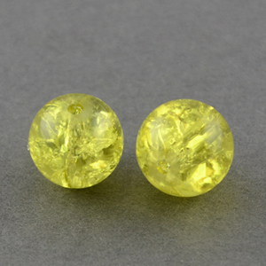 GCB12-15 glass crackle beads - yellow