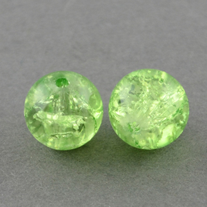 GCB12-9 glass crackle beads - peridot