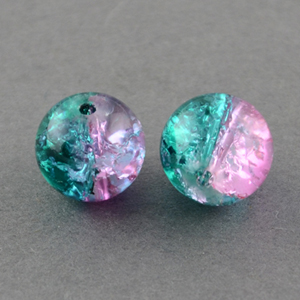 GCB12-T6 glass crackle beads - pink/green turquoise