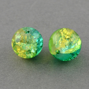 GCB12-T4 glass crackle beads - peridot/green turquoise