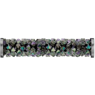 5950 30mm CET/088 N - Swarovski fine rocks tube with ending - crystal metallic effects/stainless steel