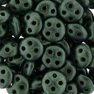CMQL-286 CzechMates quadralentil beads - metallic suede dark forest