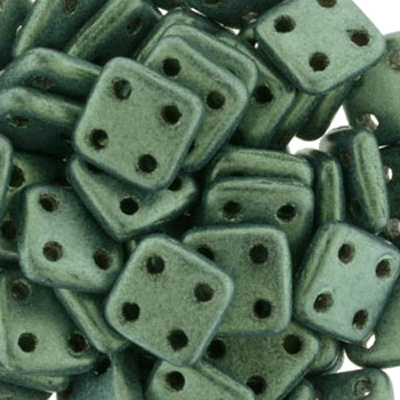 CMQT-276 CzechMates quadratile beads - metallic suede light green