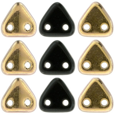 CMTR-394 CzechMates triangle beads - jet Capri gold