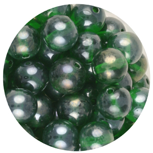 GB240L-10 pressed lustre glass beads - emerald