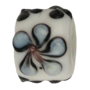 GB281-2 Indian glass lamp bead, barrel flower - white