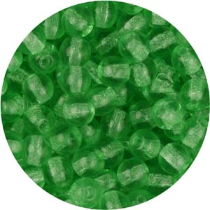 GBSR04-76 round pressed glass beads - green