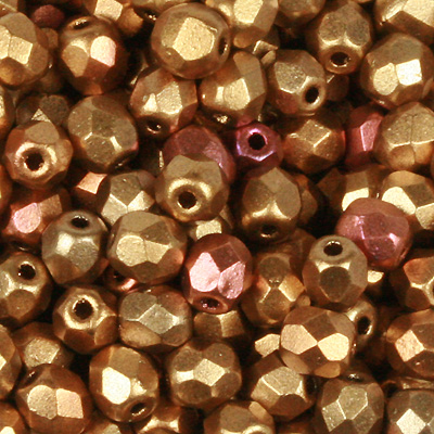 GB7 MET 231 Czech fire-polished beads - crystal gold rainbow
