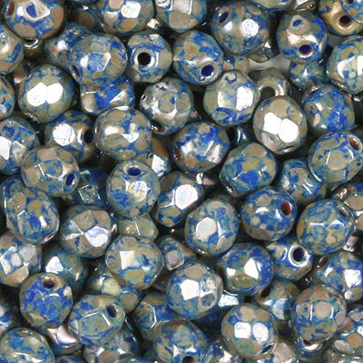 GB7-420 Czech fire-polished beads - opaque blue picasso
