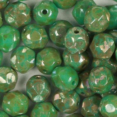 GB8-423 Czech fire-polished beads - opaque turquoise green picasso