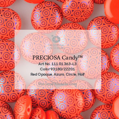 GBCDYLC08-468 Czech Candy Beads - opaque red azuro laser circles