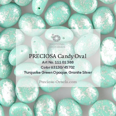 GBCDYOV08-758 Czech Candy Oval Beads - opaque turquoise green granite silver