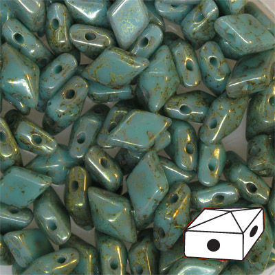 GBDDUO-430 DiamonDuo beads - turquoise green terracotta red