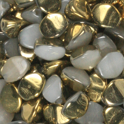 GBPCH-312 Czech pinch beads - alabaster gold